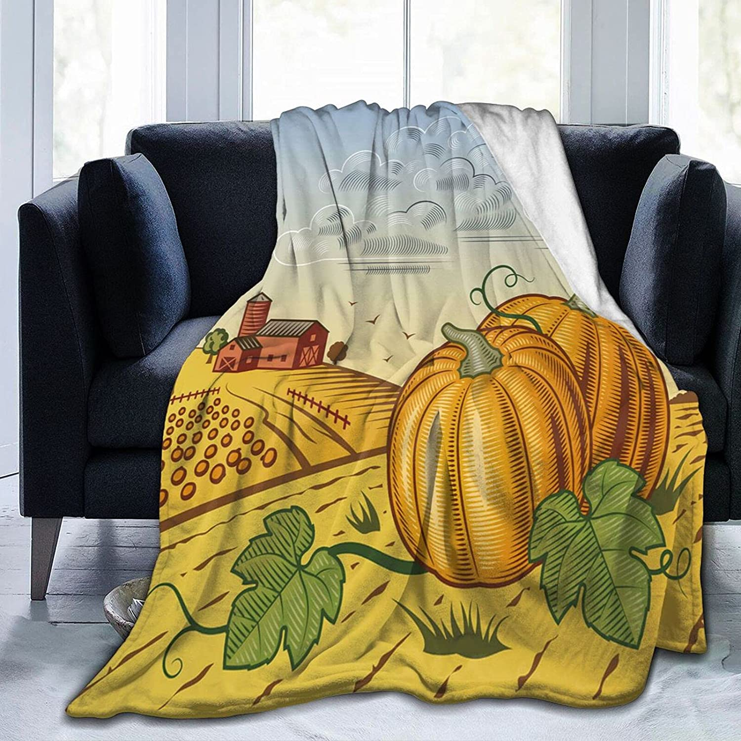 AmaUncle Landscape with Same day shipping Pumpkins Flannel Thro Bed Blanket Mesa Mall Sherpa