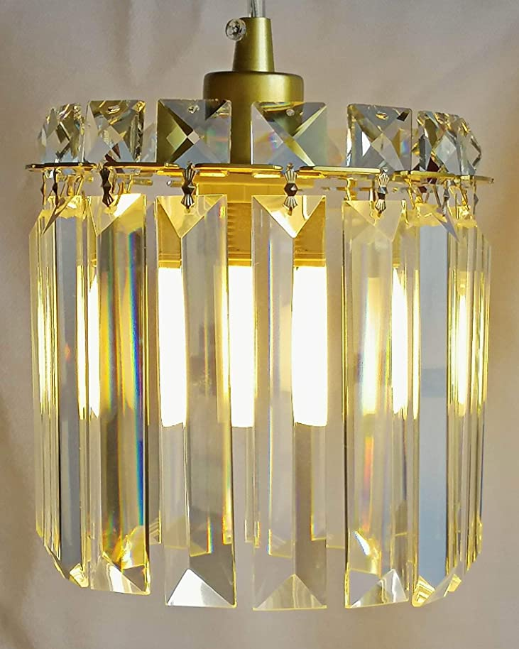 """6"""" Wide Golden Mini Crystal Chandelier for Bedroom, Tea Coffee House Restaurant,Hanging Lights with Mirror and K9?Crystals, Can Refit with Plug in Cord Swag Lights from Luenfat Lighting"""