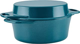 "Rachael Ray 4-Qt 11"" Griddle Lid Cast Iron Casserole, 4-Quart, Teal Shimmer"