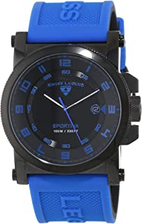 Men's 40030-BB-01-BLAS Sportiva Black Textured Dial Royal Blue and Black Silicone Watch