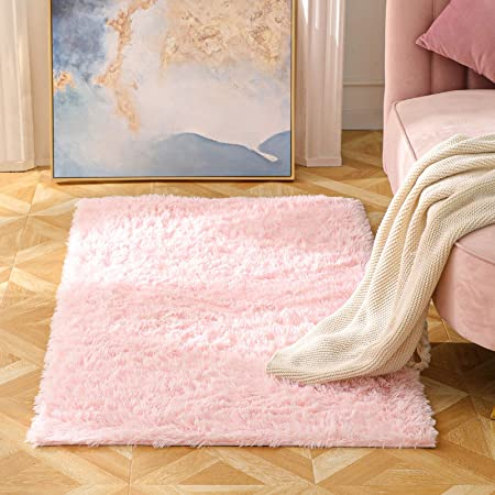 BAYKA Machine Washable Fluffy Area Rug Indoor Ultra Soft Shag Area Rug for Bedroom, Non-Slip Floor Carpet for Kids Home Decor Nursery Rug 3x5 Feet Pink