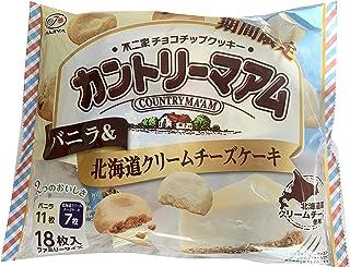 不二家 カントリーマアム バニラ&北海道クリームチーズケーキ 18枚入(バニラ11枚、北海道クリームチーズケーキ7枚) まとめ買い×3袋セット