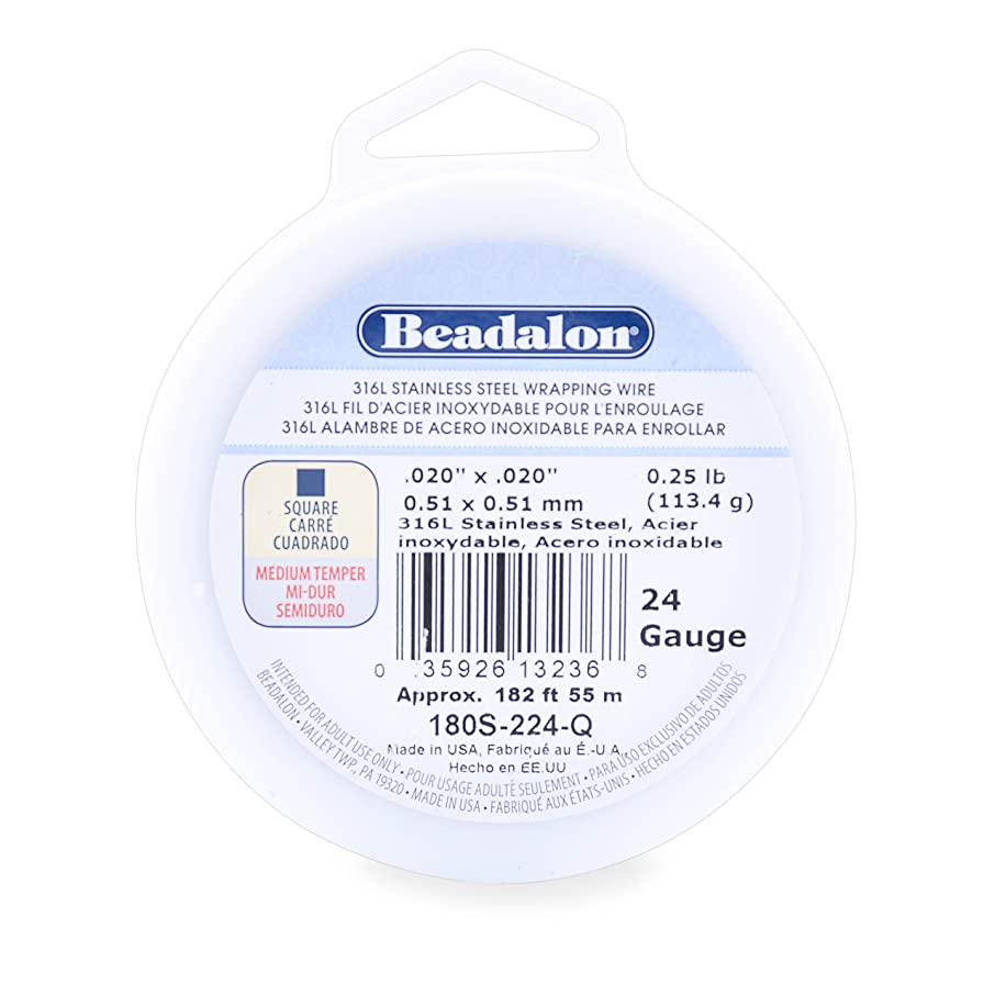 Beadalon 316L Stainless Steel Wrapping Wire, Square, 24 Gauge, 182 feet, 1/4 Pound