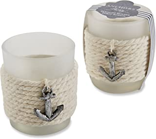 Kate Aspen Anchors Away Rope Tealight Holder, Glass Votives, Beach Theme Wedding Decorations, Party Favor, Gift Set of 4