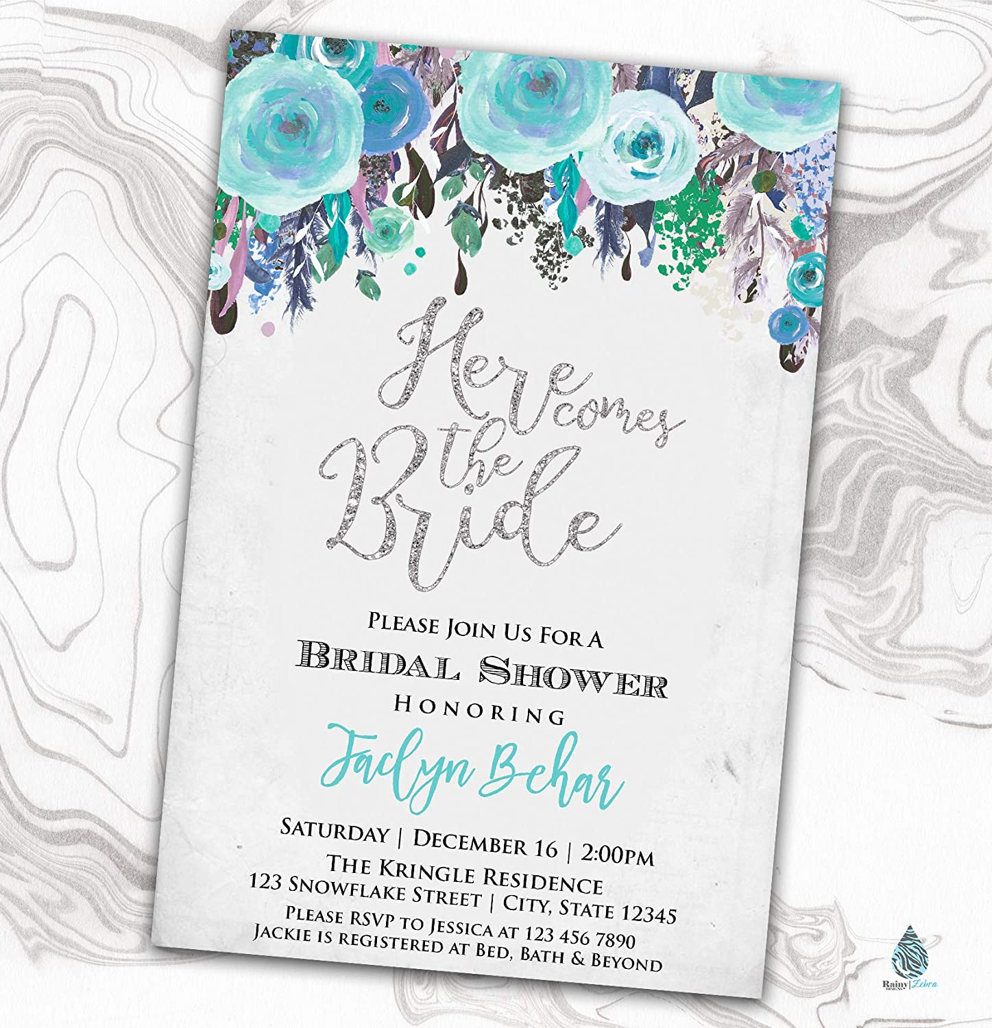 Ranking Max 52% OFF TOP13 Floral Winter Bridal Shower Invitation Wed Invite Engagement -