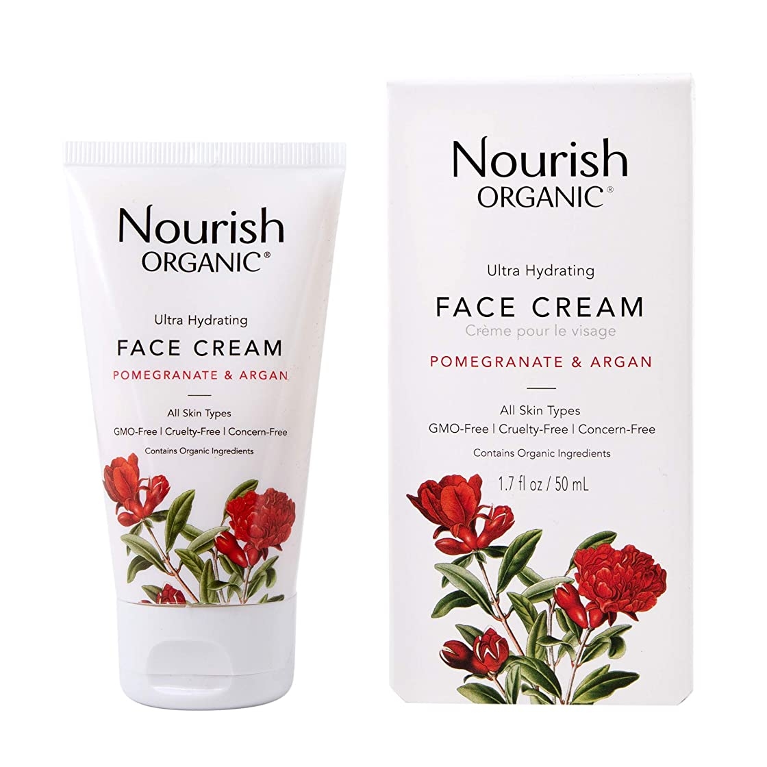 サッカー疑い者砦海外直送品Nourish Organic Face Cream, Argan Pomegranate 1.7 oz