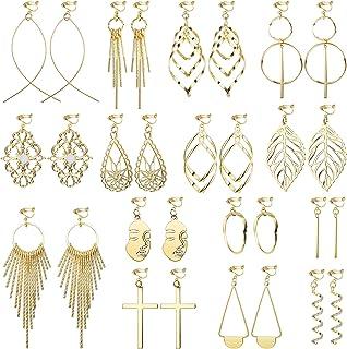 ethnic earrings white and grey dangling long earrings silvered hook or clip boho earrings Dangle clip on earrings with three beads