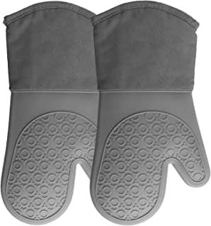 Silicone Oven Mitts with Quilted Cotton Lining - Professional Heat Resistant Kitchen Pot Holders - 1 Pair (Gray, Oven Mitts)