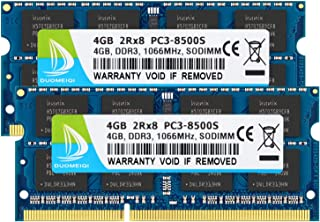 DUOMEIQI 8GB Kit (2 X 4GB) 2RX8 PC3-8500 PC3-8500S DDR3 1066MHz SO-DIMM CL7 204 Pin 1.5v Non-ECC Unbuffered Notebook Memory Laptop RAM Modules Compatibel with Intel AMD and Mac Computer