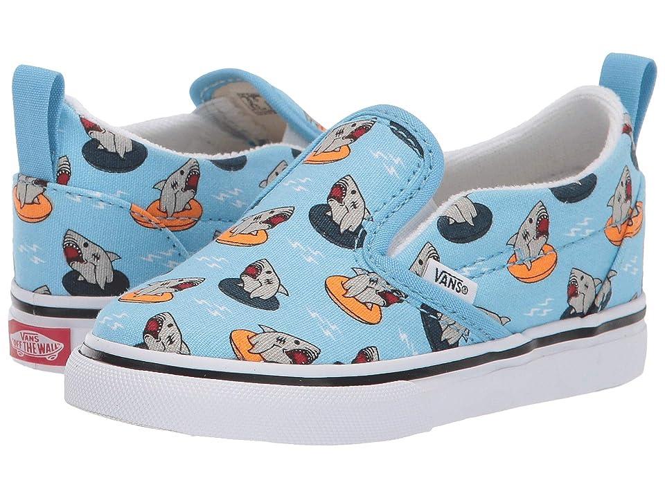 Vans Kids Slip-On V (Toddler) ((Floatie Sharks) Sailor Blue/True White) Boys Shoes