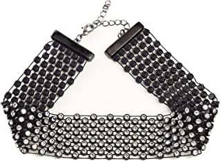 3 Rows Adjustable White Rhinestone Choker Necklace for Women