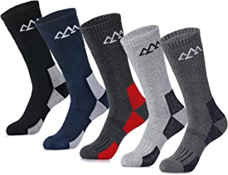 innotree 5 Pack Men's Full Thickness Cushion Crew Hiking Socks Outdoor Performance