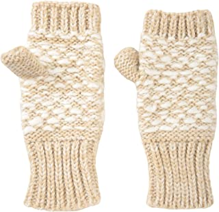 Mountain Warehouse Patterned Fingerless Knitted Womens Mittens - Lightweight Ladies Winter Gloves, Warm & Cosy Handwear - Ideal for Cycling, Driving & Daily Use