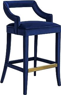 Tov Furniture Tiffany Collection Handmade Velvet Counter Stool, Navy