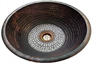 Rustic Overmount Top Mount Copper Bathroom Sink Bath Renovation Hammered Bowl