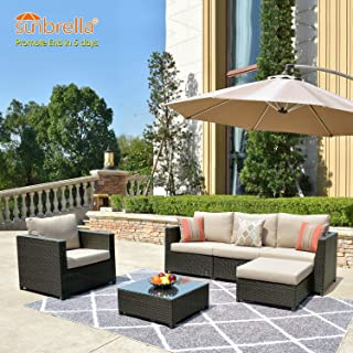 ovios Patio Furniture Set, Big Size Sunbrella Outdoor Furniture 6 Pcs Sets,PE Rattan Wicker sectional with 2 Pillows and Coffee Table, No Assembly Required,Brown (6 Piece Big Size, Beige Sunbrella)