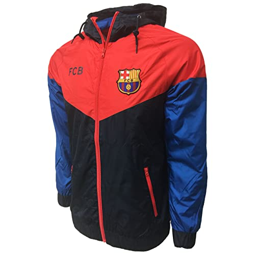 aa27213b989 FC Barcelona Waterproof Hoodie, Lightweight Rain Jacket for Adults,  Officail Barcelona Training Jacket,