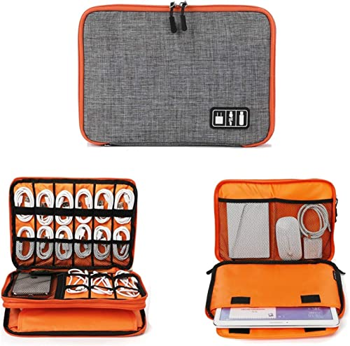 ORPIO (LABEL) Waterproof Double Layer Electronic Universal Carry Travel Organizer Bag/Case for Cables, Plug, Power Ba...
