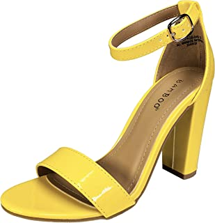 BAMBOO Women s Single Band Chunky Heel Sandal with Ankle Strap