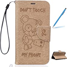 Trumpshop Smartphone Protective Case for Huawei Y6 II + Don't Touch My Phone (Baby Bear) Gold + Premium PU Leather Flip Wallet Cover Bookstyle [Not compatible with Huawei Y6 and Y6 II Compact]
