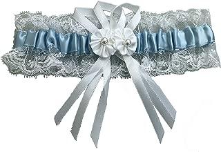 Spitze und Perlen LadyMYP© Blaues Strumpfband mit weißen Blüten