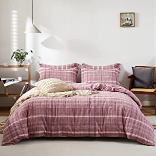 Rose Lake 100% Washed Cotton Duvet Cover Set with Plaid Pattern Queen Size, 3 Pieces Luxury Soft and Breathable Bedding Se...