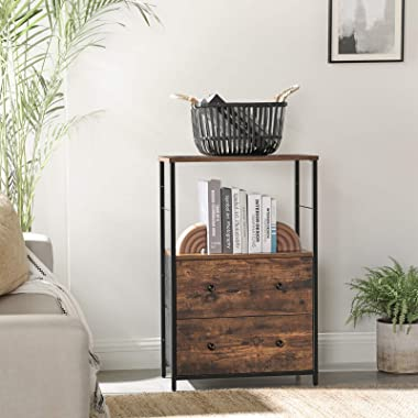 SONGMICS Nightstand, Rustic Side Table, Dresser Tower with 2 Fabric Drawers, Storage Shelves, and Wooden Top, Metal Frame, In