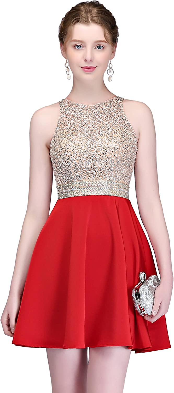 2016 Beading Bodice Open Back Short Homecoming Dress