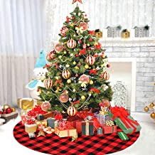 DegGod 48 inches Checked Christmas Tree Skirt, Red and Black Buffalo Plaid Double Layers Xmas Tree Base Cover Mat for Chri...