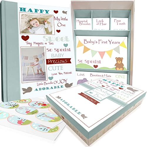 Baby Memory Book w/Keepsake Box & 30 Monthly & Baby First Milestone Stickers - Gender Neutral First Year Scrapbook Jo...