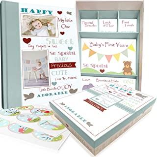 Baby Memory Book w/ Keepsake Box & 30 Monthly & Baby First Milestone Stickers - Gender Neutral Scrapbook Album for Boys & ...