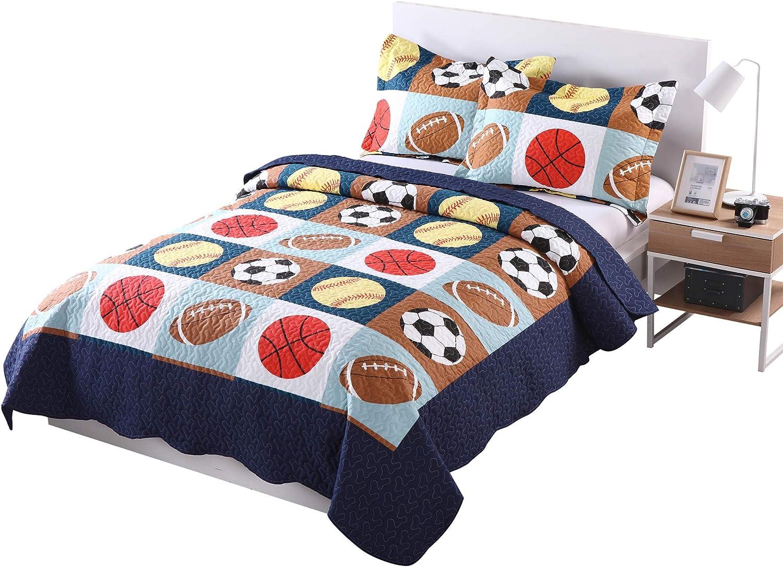 MarCielo 3 Piece Kids Bedspread Under blast sales Quilts Fashion for Tee Set Throw Blanket