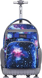 Tilami Rolling Backpack 18 Inch Wheeled Backpack Laptop, Blue Galaxy
