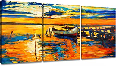 Donglin Art- The Golden Sailboat, Modern Abstract Seascape Oil Paintings Giclee Canvas Prints, Seascape Pictures Wall Art for Home Decorations, 1216inch /3040 cm3panels