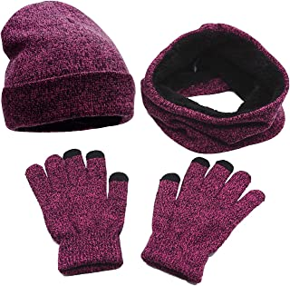 Bienvenu 3 Pieces Knitted Hat Set Winter Thick Warm Knit Hat + Scarf + Touch Screen Gloves