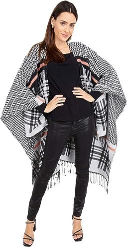 Pullover Fuzzy Yarn Striped Poncho