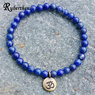 Gabcus Hot Sale Handmade Beaded Bracelet 6mm Lapis Lazuli Natural Stone Beads Antique Brass Ohm Lotus Buddhist Charm Bracelet - (Metal Color: Buddha Charm)