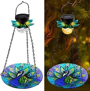 MAGGIFT Solar Powered Bird Bath for Outside Hanging, Wild Bird Feeder, Peacock Shape Glass Seed Tray Outdoor Waterproof Bi...