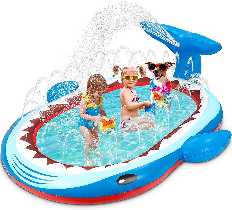 Flyfun Splash Pad, Piscina Hinchable con Rociadores, 126 x 162 x 20 CM Tapete Acuático, Juguete para Niños con Tema de Tiburón, Piscina de Juego de Verano para Niños y Mascotas en Jardín
