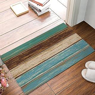 """FAMILYDECOR Door Mat Indoor/Outdoor Non Slip Entrance Front Doormat Area Rugs, 32""""x20"""" Rustic Wood Board Waterproof Absorb Bathroom/Kitchen Floor Mat Carpet Shoes Scraper"""