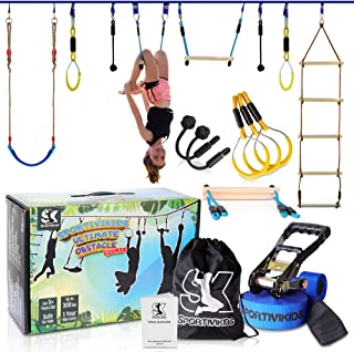 SPORTIVIKIDS Ninja Warrior Obstacle Course for Kids - 50ft Ninja Slackline with Bonus Eva Swing Set, Fun Outdoor Playsets ...