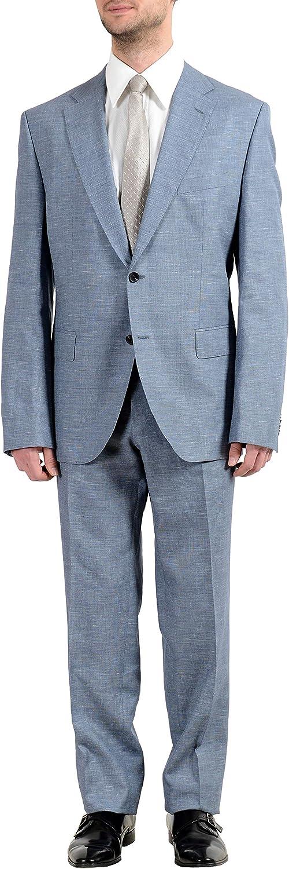Hugo Boss Johnstons5/Lenon1 Men's Silk Wool Linen Blue Two Button Suit US 40R IT 50R