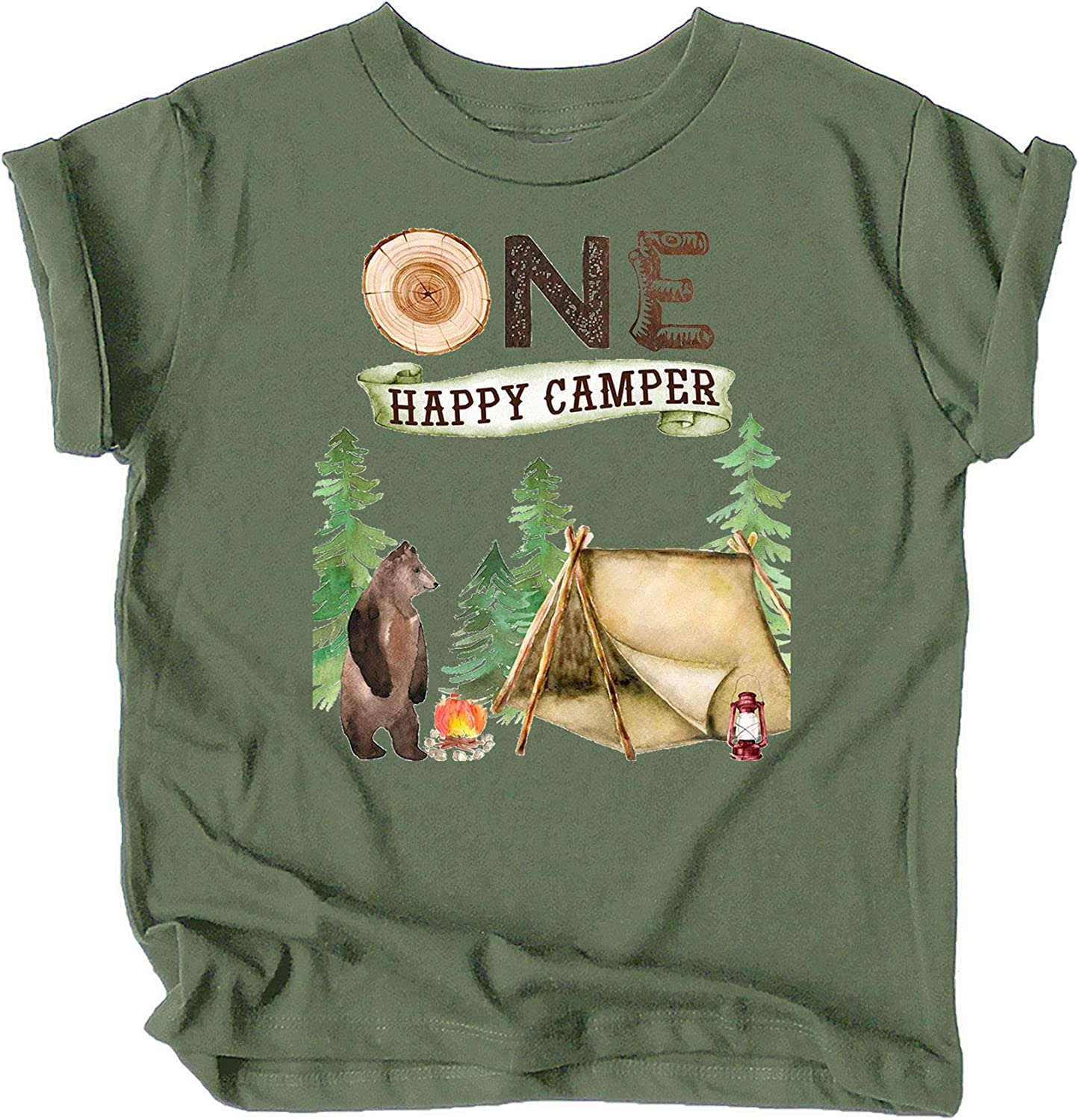 One Happy Camper 1st Birthday Camping Outdoor Themed T-Shirts and Raglans for Girls and Boys