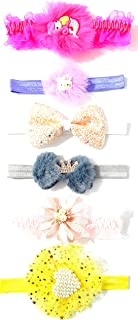 ANNA CREATIONS® multi-coloured baby girl kids hairband headbands elastic hair accessory set 6 PCS with gift box-pink (STYL...