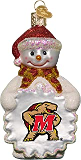 Football Fanatics NCAA Maryland Terrapins Glass Snowman Ornament
