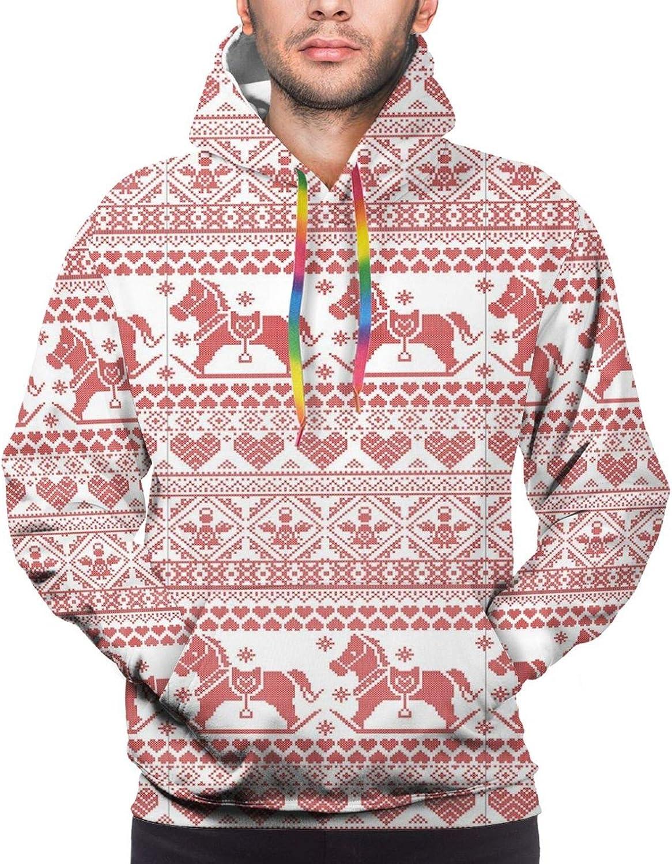 Men's Hoodies Sweatshirts,Horses Hearts and Angels Norwegian Festive Motifs Cross Stitch Pattern Winter