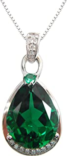 Navachi 925 Sterling Silver 18k White Gold Plated 8.0ct Pear Emerald Az9638p Necklace Pendant 16