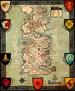 Wall Decor Master Game of Thrones Houses Map Westeros and Free Cities Poster Home Deco on Silk 28 inch x 24 inch