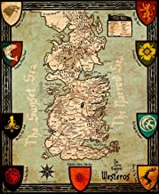 Game Of Thrones Houses Map Westeros And Free Cities Poster home deco on Silk 28 inch x 24 inch