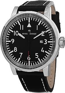 Revue Thommen Airspeed XLarge Black Dial Date - Black Leather Band Revue Thommen Watch Mens - Swiss Revue Thommen Automatic Watch 16053.2537
